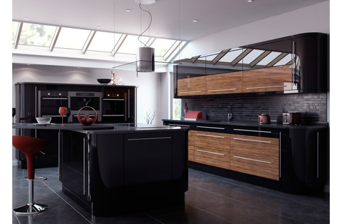 reflection olivewood and black gloss kyme kitchens. Black Bedroom Furniture Sets. Home Design Ideas